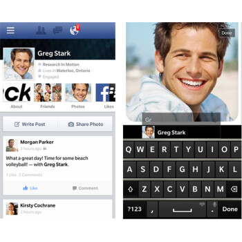 Screenshots from the updated Facebook for BlackBerry 10