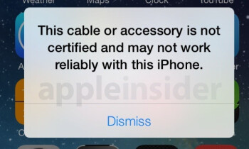 You will be warned if you're using an unauthorized Lightning connector while testing iOS 7