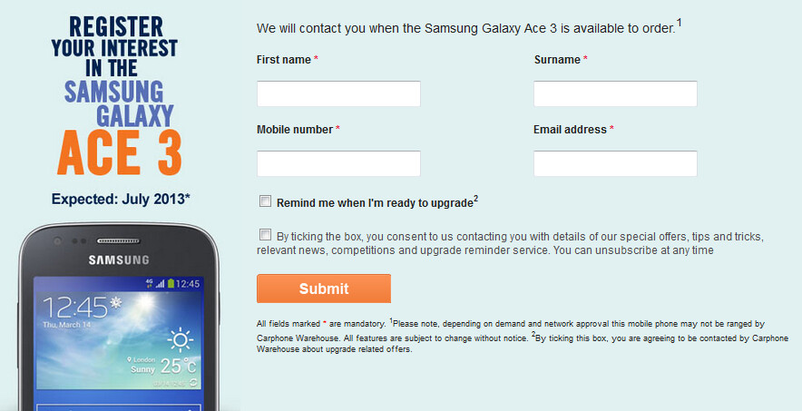 Pre-register for the Samsung Galaxy Ace 3 with Carphone Warehouse, now - Samsung Galaxy Ace 3 coming in July to the U.K. with 4G LTE connectivity