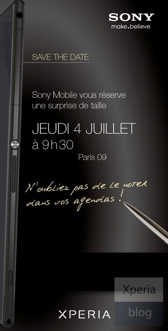 The sideways image of the Sony Xperia Z Ultra - 6.44 inch Sony Xperia Z Ultra shows up on invitation