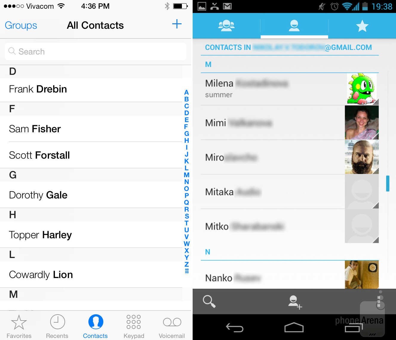 ios 7 groups contacts