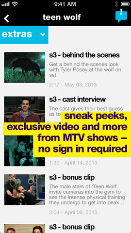 Screenshots from the MTV for iOS app