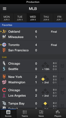 Screenshots from the iOS version of Yahoo Sports 4.0 - Updated Yahoo Sports App 4.0 arrives just in time for NBA, MLB, NHL and NFL action