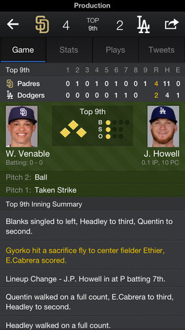 Screenshots from the iOS version of Yahoo Sports 4.0