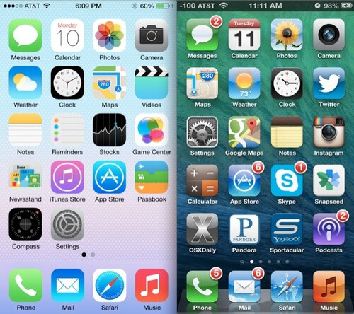 Comparing iOS 6 with iOS 7