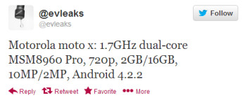 Evleaks tweets specs it expects for the Motorola Moto X