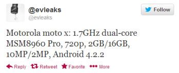 Evleaks tweets specs it expects for the Motorola Moto X