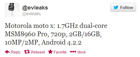 Evleaks tweets specs it expects for the Motorola Moto X - Specs for Motorola Moto X leak