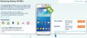 The Samsung Galaxy S4 mini is listed at Carphone Warehouse