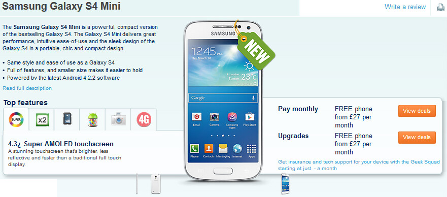 The Samsung Galaxy S4 mini is listed at Carphone Warehouse - Samsung Galaxy S4 mini shows up at Carphone Warehouse