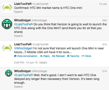 This exchange of tweets says that the HTC One mini is coming to T-Mobile