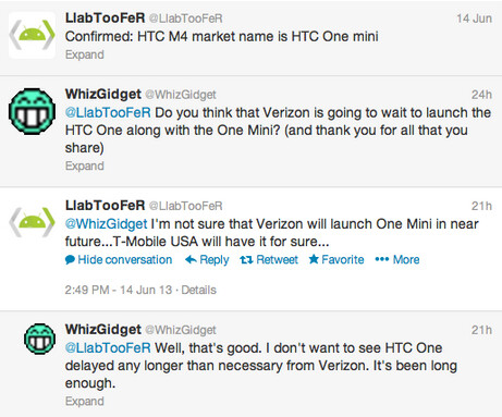 This exchange of tweets says that the HTC One mini is coming to T-Mobile - HTC One mini coming to T-Mobile?