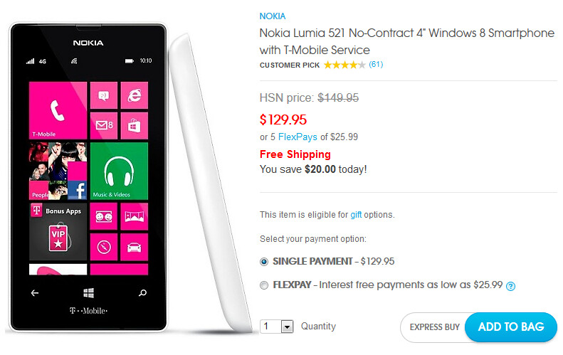 HSN is now offering the T-Mobile Lumia 521 for $129.95 - HSN drops price of Nokia Lumia 521 to $129.95