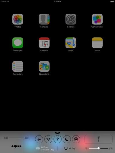 iOS 7 leaked screenshots hint at flashlight on next gen iPad