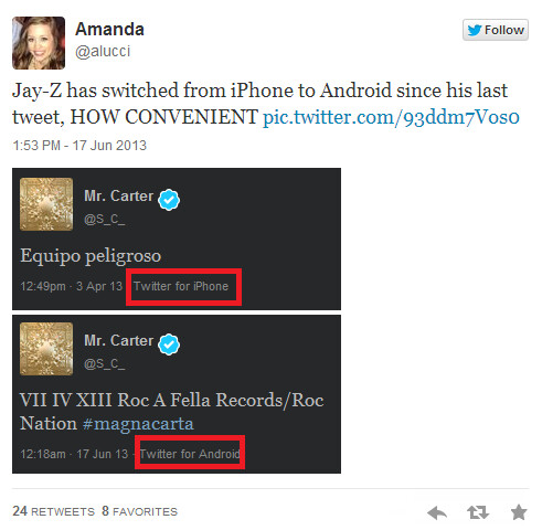 Jay-Z has dropped his Apple iPhone for an Android handset - Jay-Z drops his Apple iPhone for what we assume is a Samsung Galaxy S4