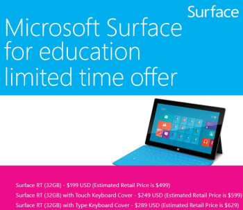 Microsoft Surface RT 32 GB to be offered at cost to schools and universities later this month