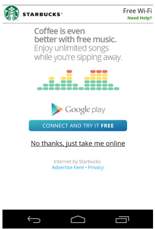 Starbucks is offering free streaming music from Google - Starbucks offering free Google Play Music All Access streaming music