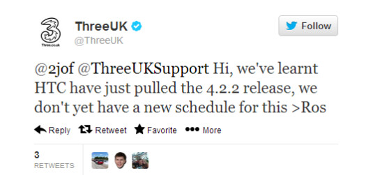 The tweet from ThreeUK that set off the uproar - HTC reiterates Android 4.2.2 update coming to HTC One