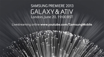 Samsung will be streaming the 'Premiere' Galaxy & ATIV event live on YouTube June 20th