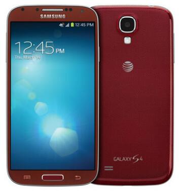 The Samsung Galaxy S4 in Aurora Red - Aurora Red Samsung Galaxy S4 is an AT&T exclusive in the U.S.