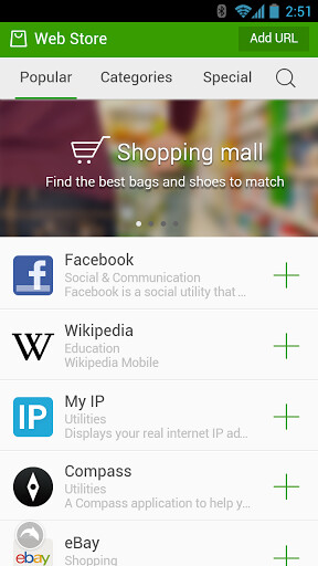 Screenshots from the Dolphin Browser for Android - Dolphin Browser updated to include HTML5 web app store