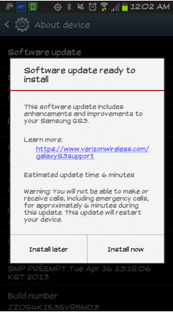 An OTA update is rolling out to Verizon owners of the Samsung Galaxy S III
