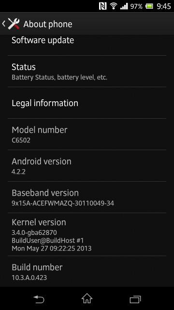 Somy Xperia ZL Android 4.2.2 update