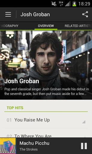 Screenshots from streaming music service Spotify, for the Android platform