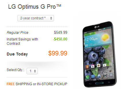 Grab the LG Optimus G or LG Optimus G Pro on sale at AT&T - LG Optimus G $49, LG Optimus G Pro $99 at AT&T