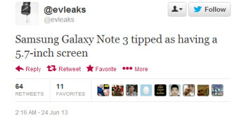 "Galaxy Note 3 tipped to arrive with a 5.7"" display this time"