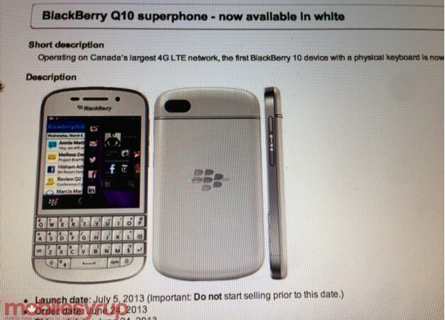 A leaked internal document shows the white BlackBerry Q10 coming to Bell on July 5th - It's all white now: Bell to offer BlackBerry Q10 in white on July 5th?