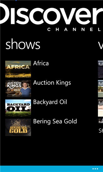 Discovery Channel, TLC, and Animal Planet for Windows Phone