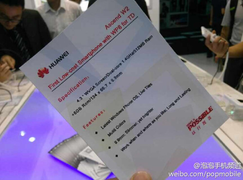 Complete specs list for Huawei Ascend W2