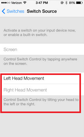 Control your Apple iPhone with your head in iOS 7
