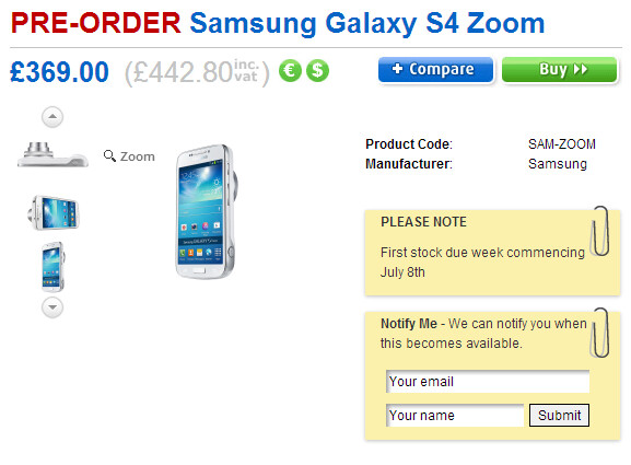 Clove is taking pre-orders for the Samsung Galaxy S4 Zoom - Samsung Galaxy S4 Zoom to launch in the U.K. on July 8th
