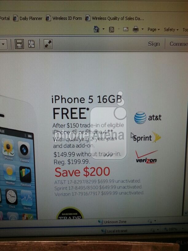 Trade in your Apple iPhone 4S or Apple iPhone 4 and get a new Apple iPhone 5 from Radio Shack - Radio Shack matches Best Buy, offers Apple iPhone 5 free with trade in of Apple iPhone 4/4S