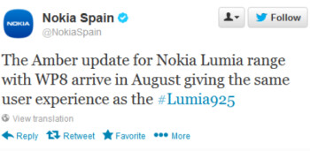 Translated tweet from Nokia Spain