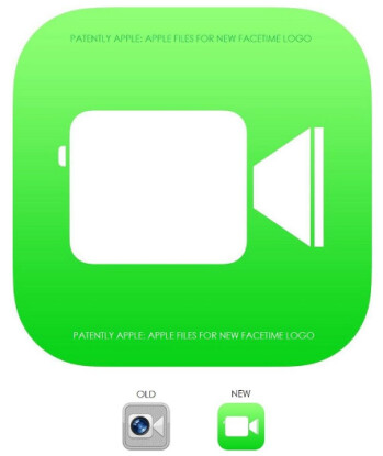 The new FaceTime logo (L) and the trademark application