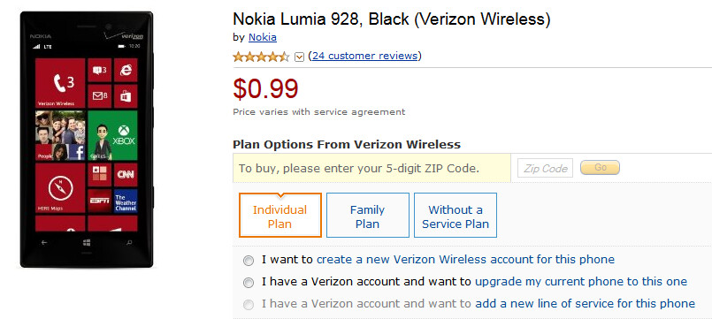 The Nokia Lumia 928 is just 99 cents on contract from Amazon - Nokia Lumia 928 on sale for 99 cents from Amazon