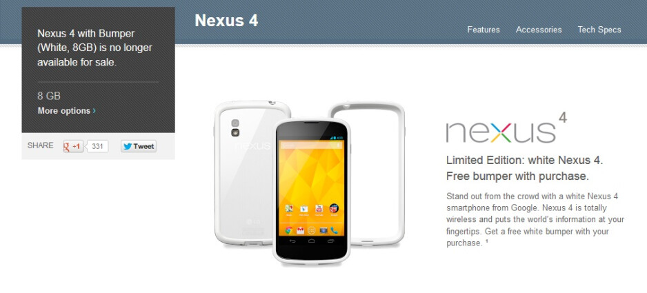 White Nexus 4 8GB model is no longer available on Google Play