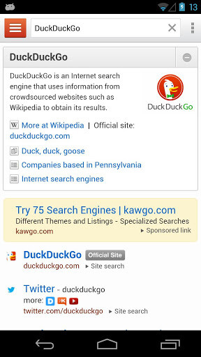 Screenshots from DuckDuckGo Search & Stories