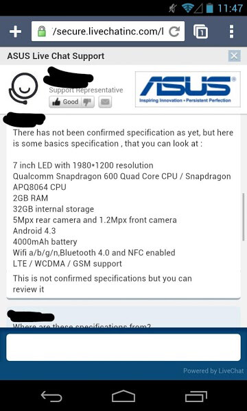 Second generation Nexus 7 tablet specs get confirmed in alleged live chat with Asus
