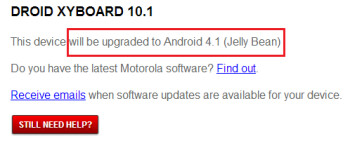 Motorola says Android 4.1 is coming to the pair of DROID XYBOARDS