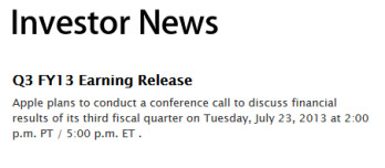 Apple will report its third quarter earnings report on July 23rd
