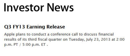 Apple will report its third quarter earnings report on July 23rd - Apple to report Q3 earnings on July 23rd