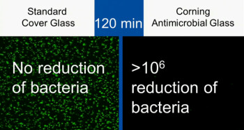 In two hours time, the antimicrobial coating from Corning has assassinated harmful bacteria and viruses lurking on your phone or tablet display