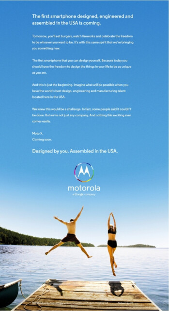 First Moto X ad due tomorrow is all about freedom to customize. 'Merica!