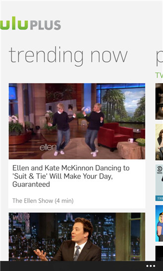 Screenshots from Hulu Plus for Windows Phone 8