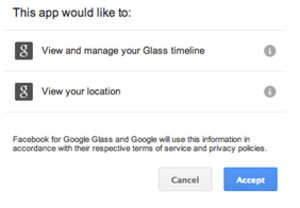 Google Glass asks permission to download the Facebook for Glass app
