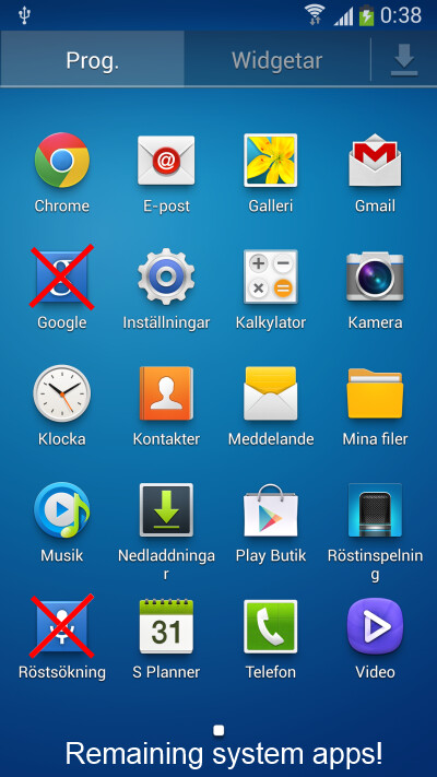 Apps left after TrulyClean script has been applied - TrulyClean is a Samsung Galaxy S4 bloatware cleaning script